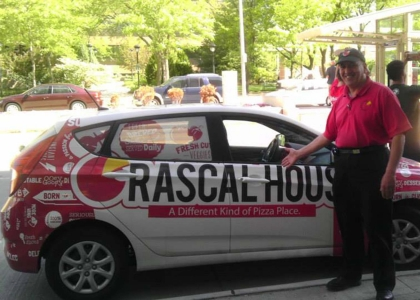 rascal house pizza delivery car